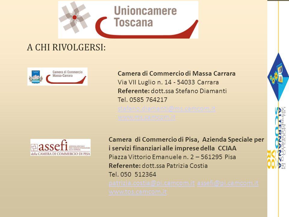 A CHI RIVOLGERSI:Camera di Commercio di Massa Carrara Via VII Luglio n. 14 - 54033 Carrara Referente: dott.ssa Stefano Diamanti.