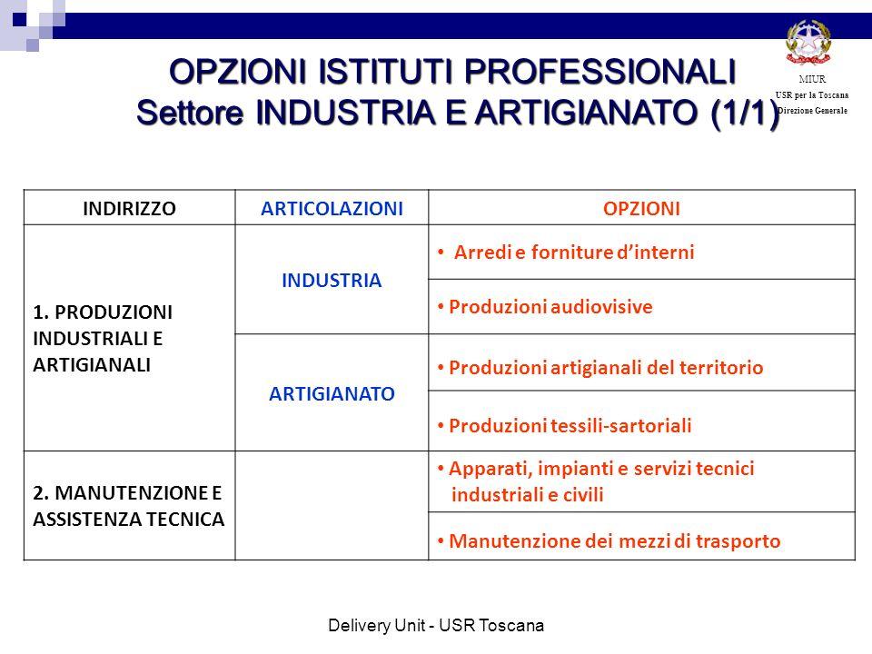 OPZIONI ISTITUTI PROFESSIONALI Settore INDUSTRIA E ARTIGIANATO (1/1)