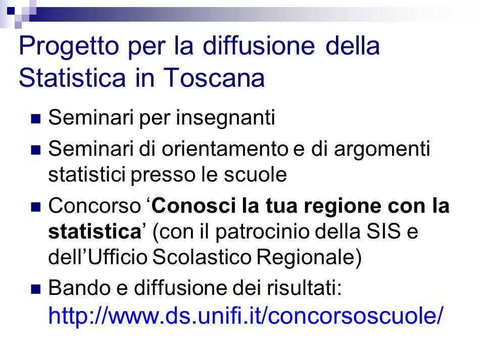 Progetto per la diffusione della Statistica in Toscana