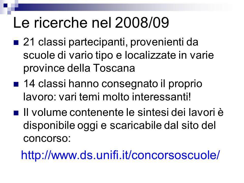 Le ricerche nel 2008/09 http://www.ds.unifi.it/concorsoscuole/