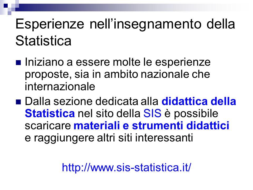 Esperienze nell'insegnamento della Statistica
