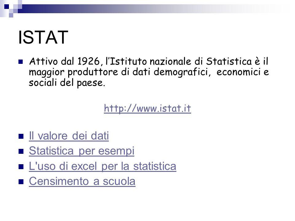 ISTAT Il valore dei dati Statistica per esempi
