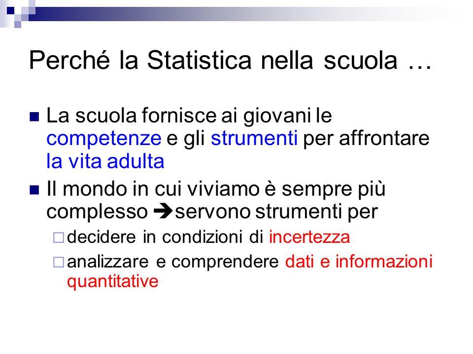 Perché la Statistica nella scuola …