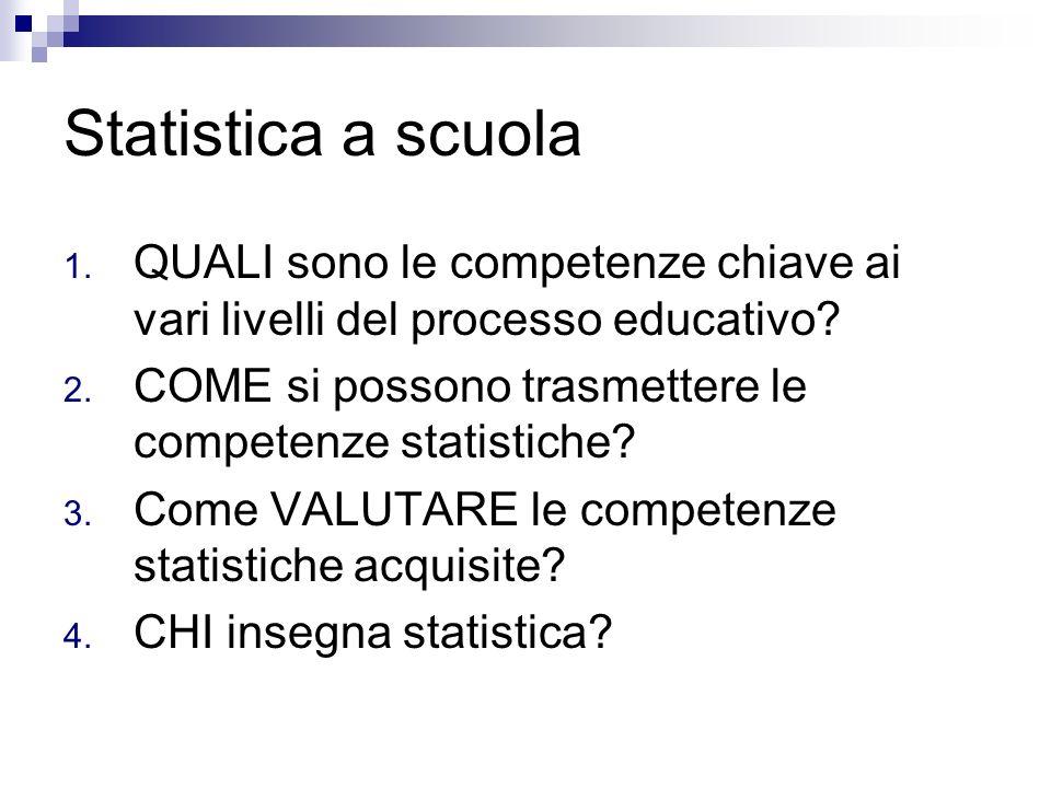 Statistica a scuola QUALI sono le competenze chiave ai vari livelli del processo educativo COME si possono trasmettere le competenze statistiche