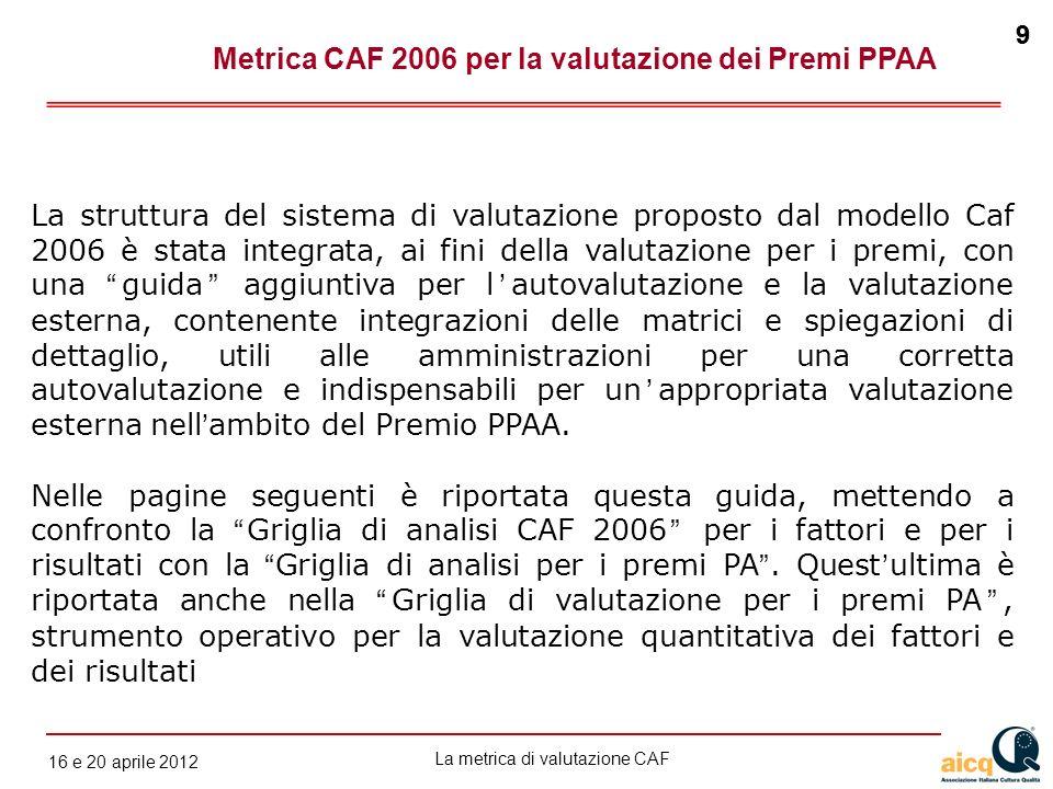 Metrica CAF 2006 per la valutazione dei Premi PPAA