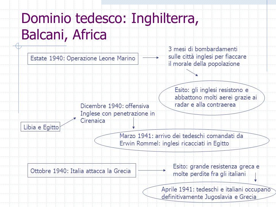 Dominio tedesco: Inghilterra, Balcani, Africa
