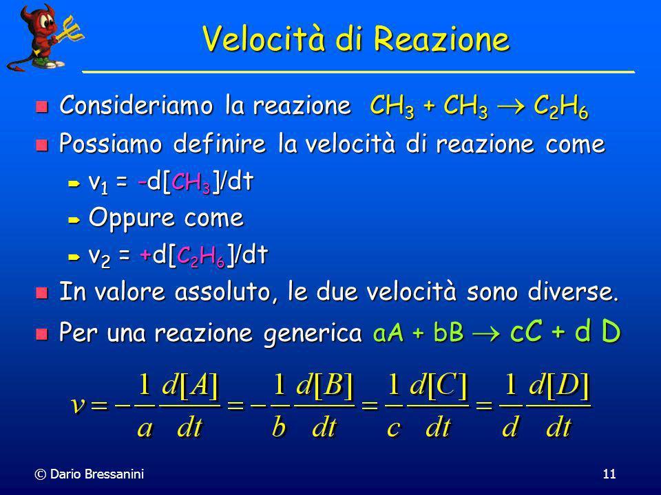 Velocità di Reazione Consideriamo la reazione CH3 + CH3  C2H6