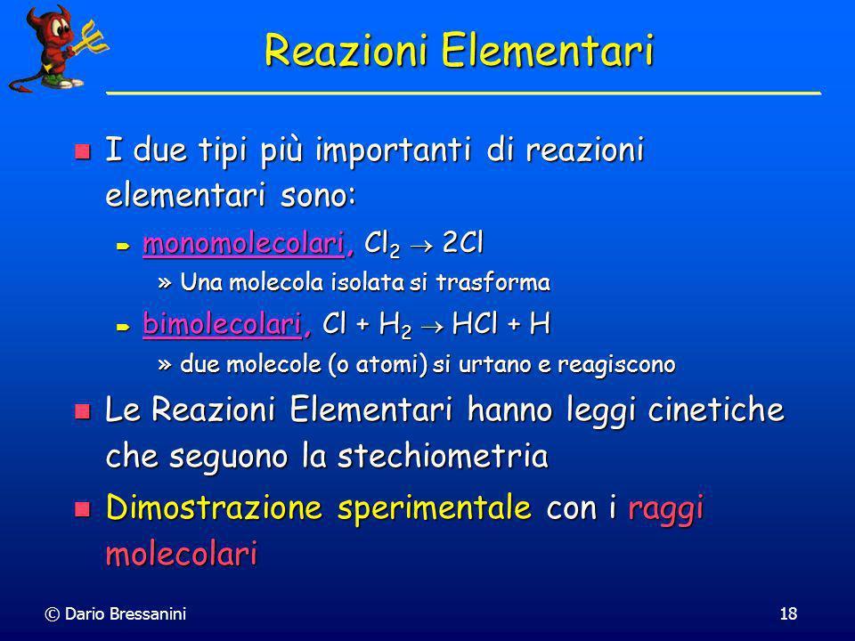 Reazioni ElementariI due tipi più importanti di reazioni elementari sono: monomolecolari, Cl2  2Cl.
