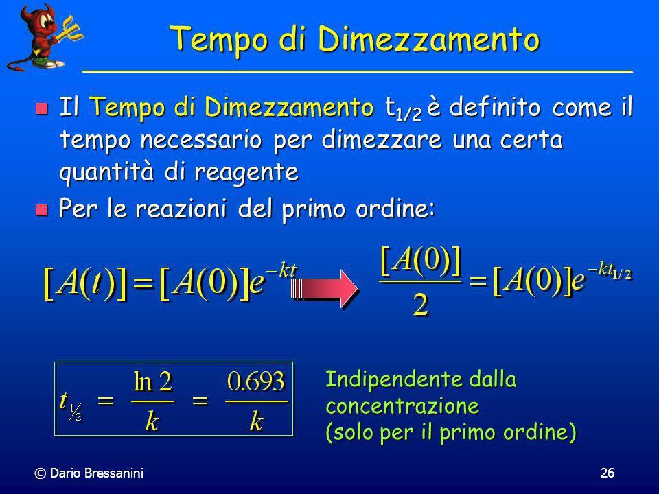 Tempo di DimezzamentoIl Tempo di Dimezzamento t1/2 è definito come il tempo necessario per dimezzare una certa quantità di reagente.
