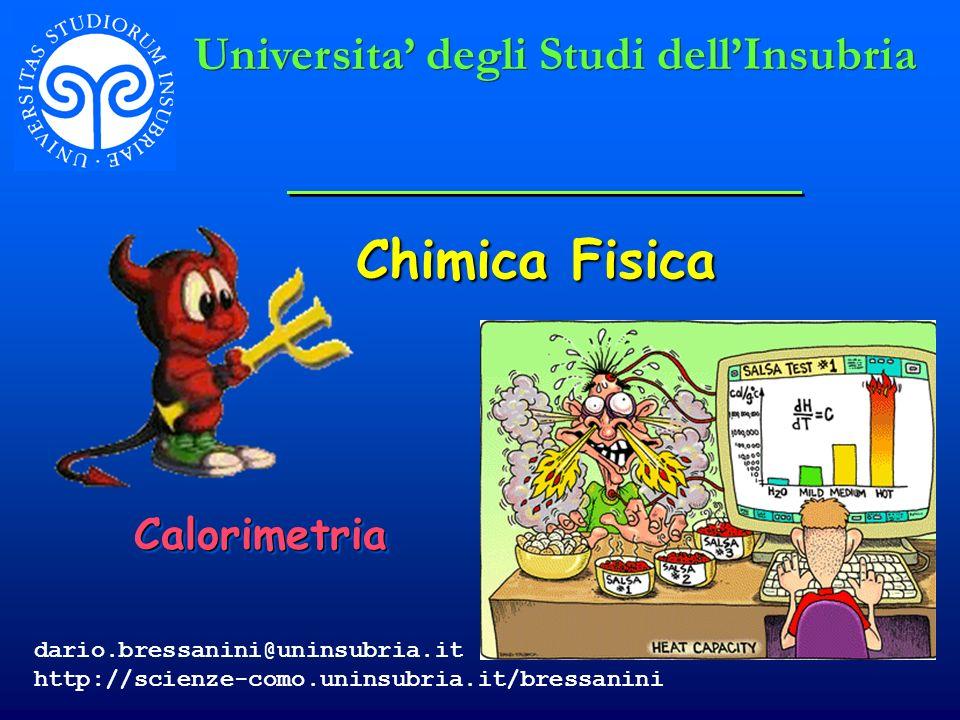 Chimica Fisica Universita' degli Studi dell'Insubria Calorimetria