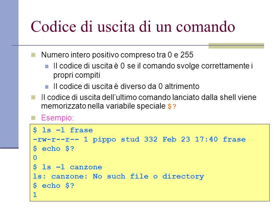 Codice di uscita di un comando