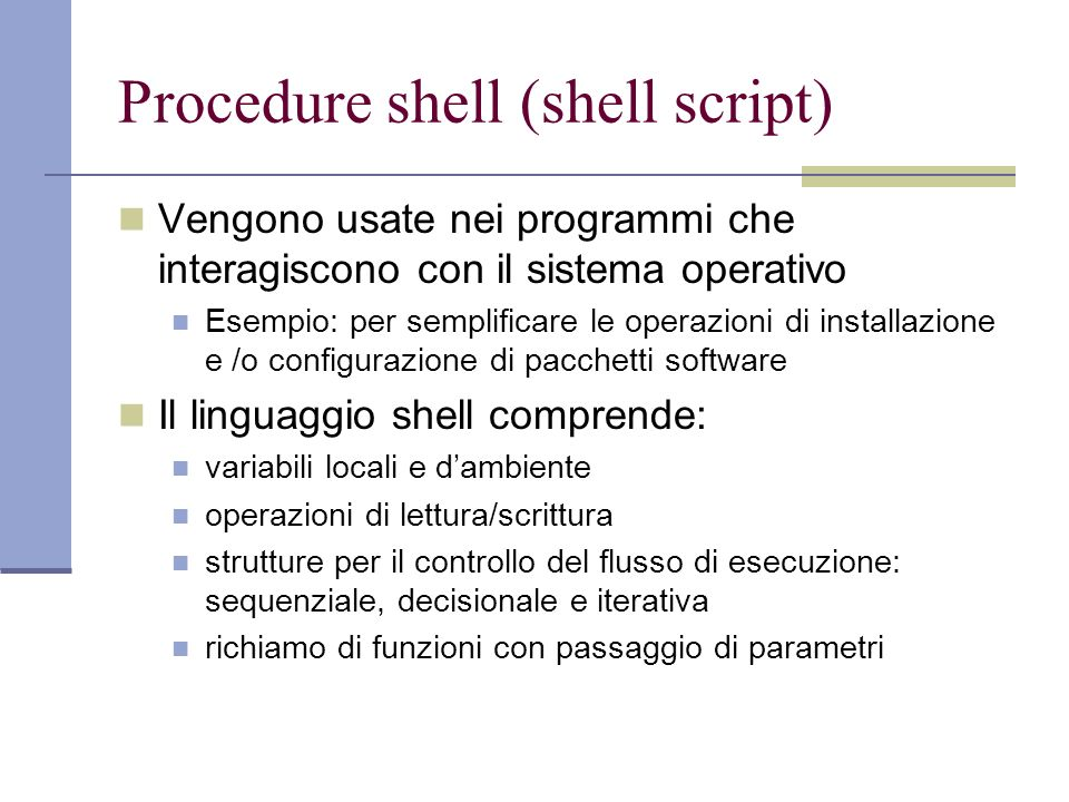 Procedure shell (shell script)