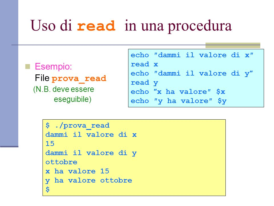 Uso di read in una procedura
