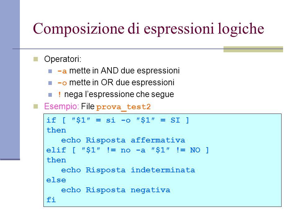 Composizione di espressioni logiche