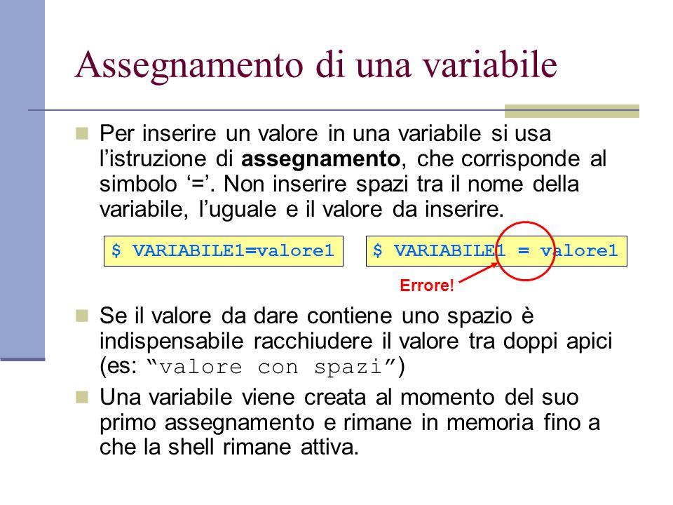 Assegnamento di una variabile