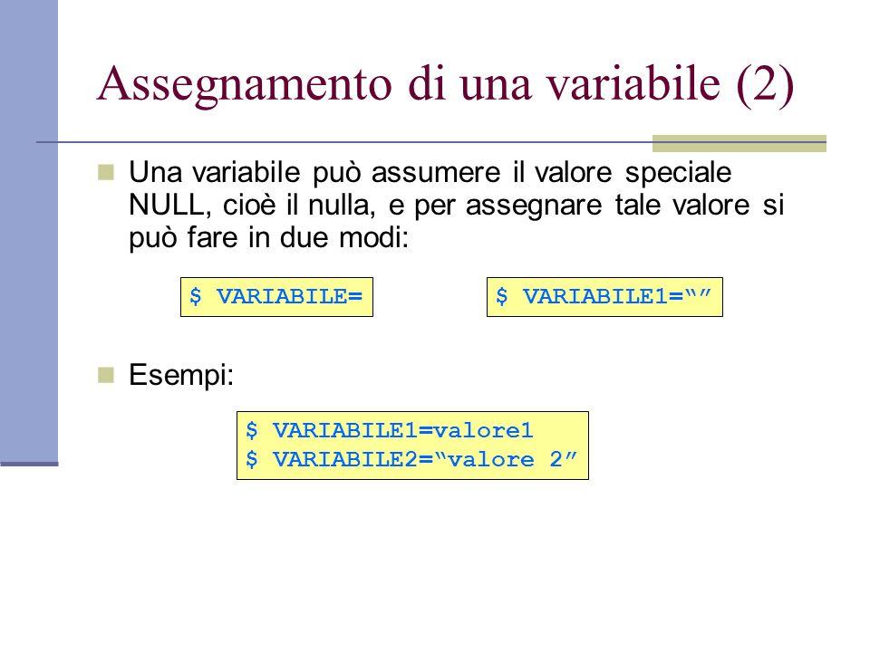 Assegnamento di una variabile (2)
