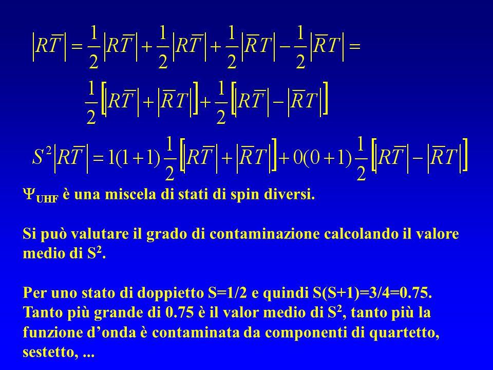 UHF è una miscela di stati di spin diversi.