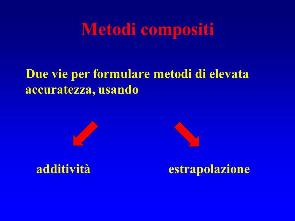 Metodi compositi Due vie per formulare metodi di elevata accuratezza, usando.
