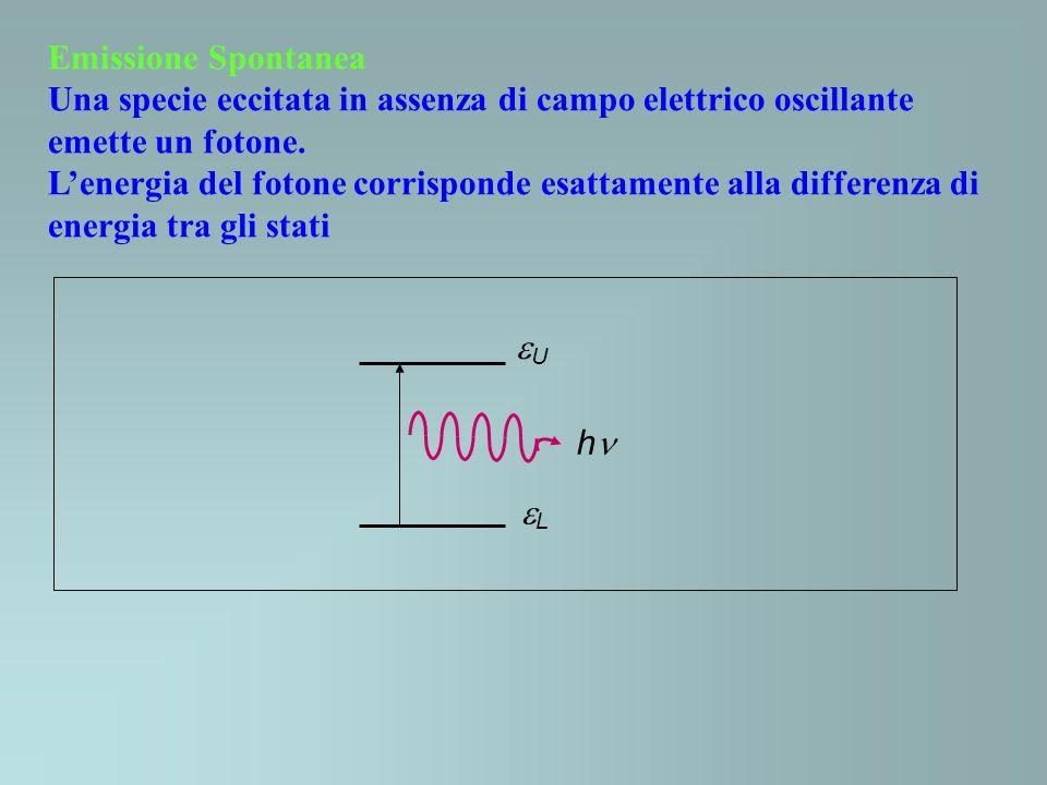Emissione Spontanea Una specie eccitata in assenza di campo elettrico oscillante emette un fotone.