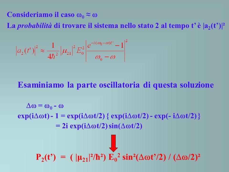 P2(t') = ( |μ21|²/ħ²) E02 sin²(t'/2) / (/2)²