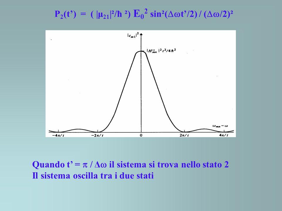 P2(t') = ( |μ21|²/ħ ²) E02 sin²(t'/2) / (/2)²