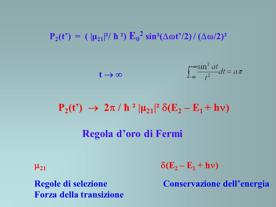 P2(t')  2 / ħ ² |μ21|² (E2 – E1 + h)