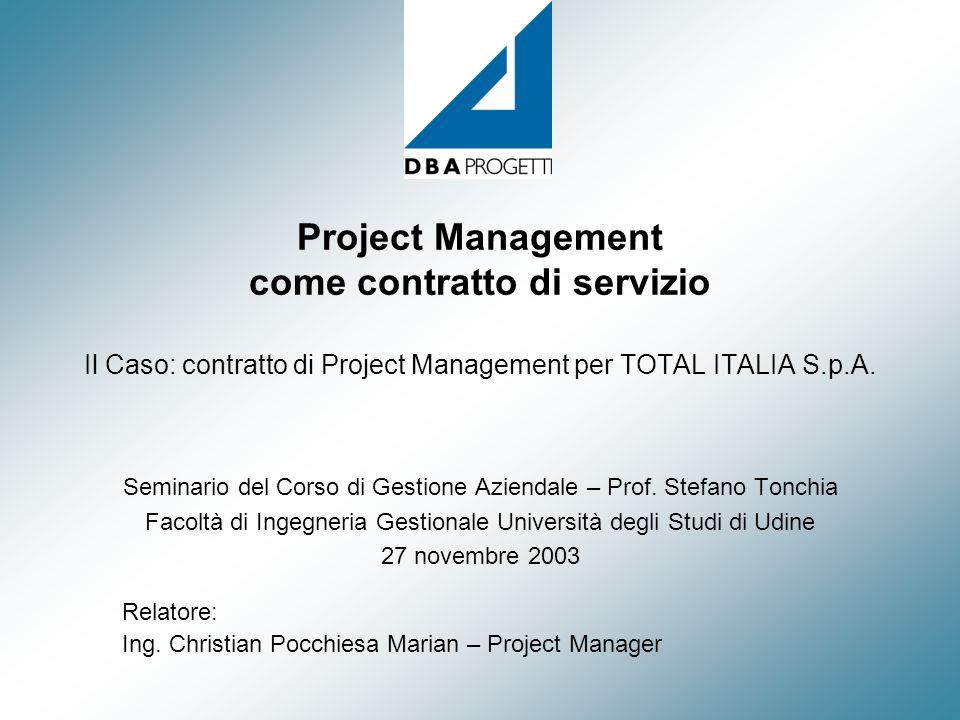 Project Management come contratto di servizio Il Caso: contratto di Project Management per TOTAL ITALIA S.p.A.