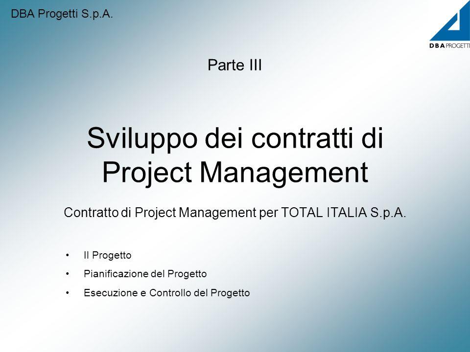 DBA Progetti S.p.A. Parte III. Sviluppo dei contratti di Project Management Contratto di Project Management per TOTAL ITALIA S.p.A.