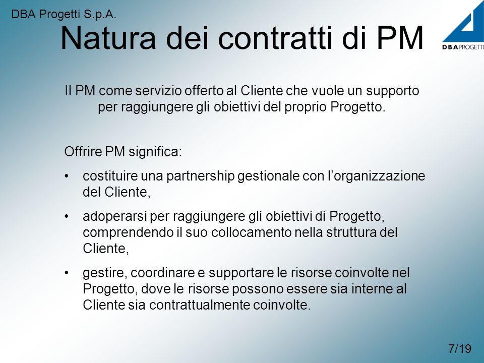 Natura dei contratti di PM