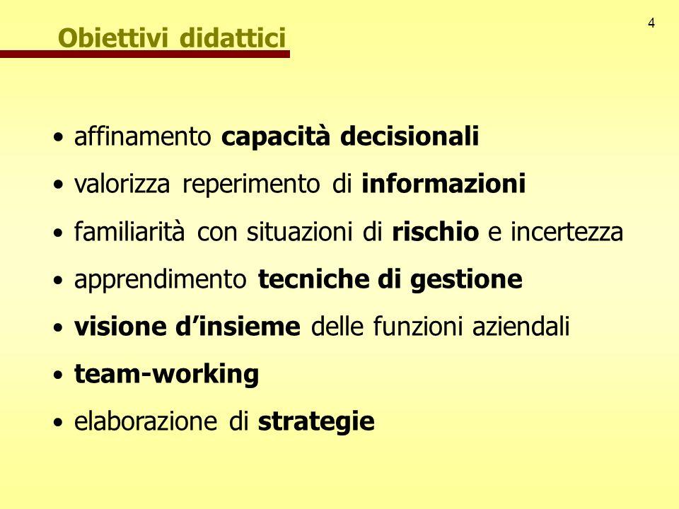 Obiettivi didattici affinamento capacità decisionali. valorizza reperimento di informazioni. familiarità con situazioni di rischio e incertezza.