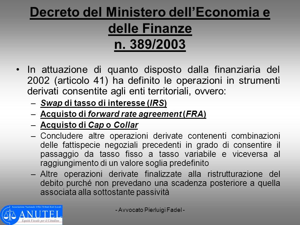 Decreto del Ministero dell'Economia e delle Finanze n. 389/2003
