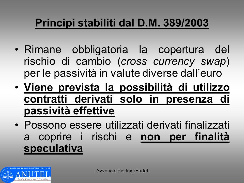 Principi stabiliti dal D.M. 389/2003