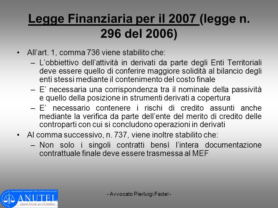 Legge Finanziaria per il 2007 (legge n. 296 del 2006)