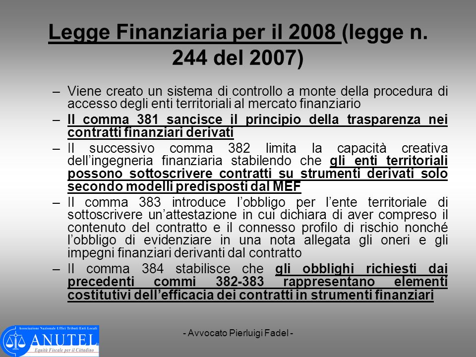 Legge Finanziaria per il 2008 (legge n. 244 del 2007)