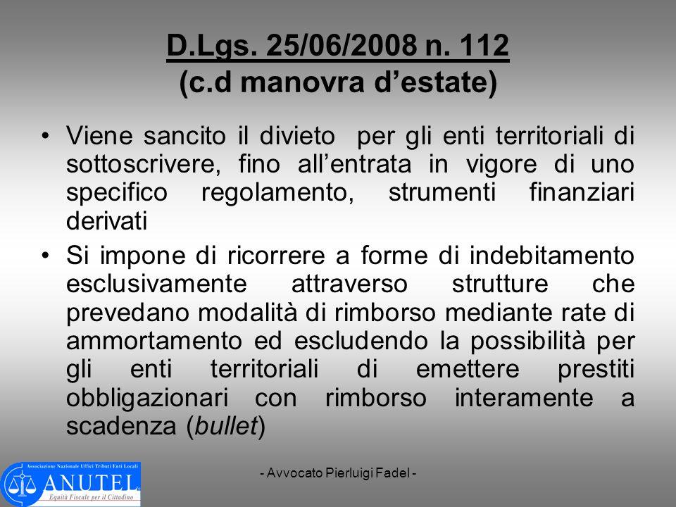 D.Lgs. 25/06/2008 n. 112 (c.d manovra d'estate)