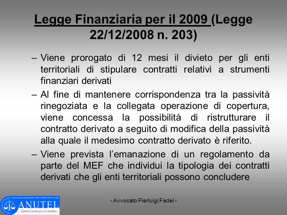 Legge Finanziaria per il 2009 (Legge 22/12/2008 n. 203)