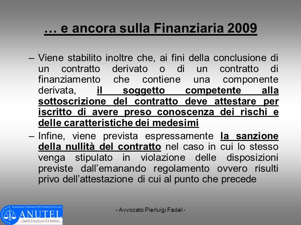 … e ancora sulla Finanziaria 2009