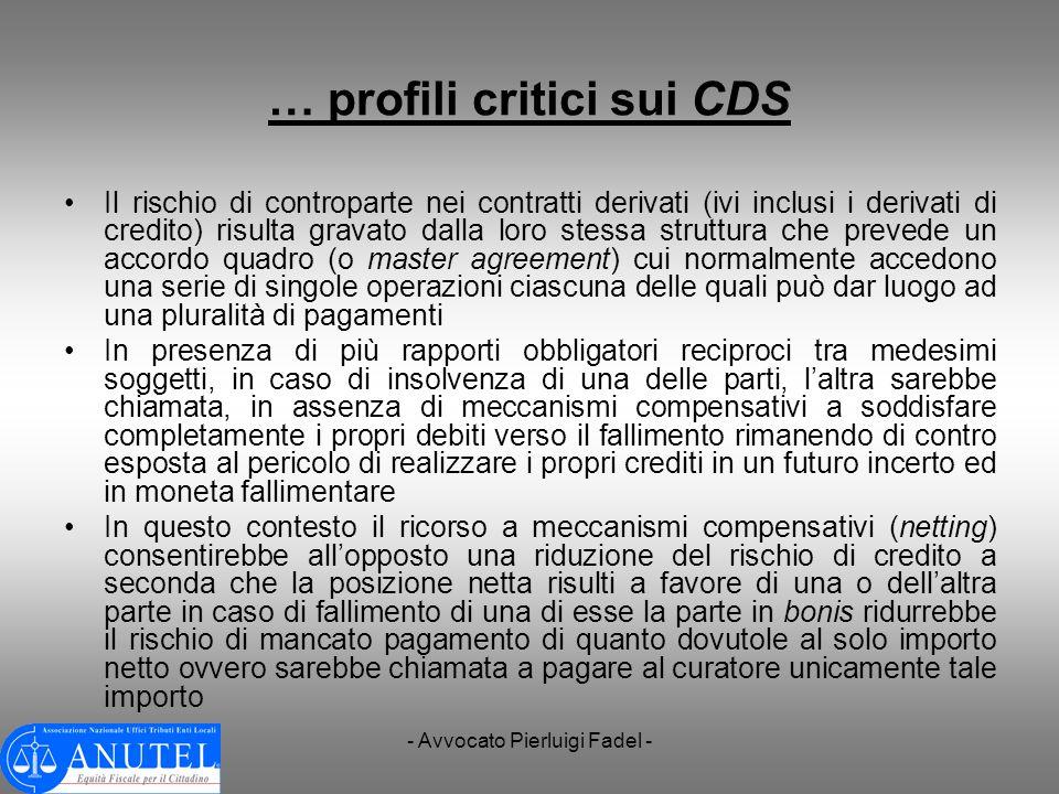 … profili critici sui CDS