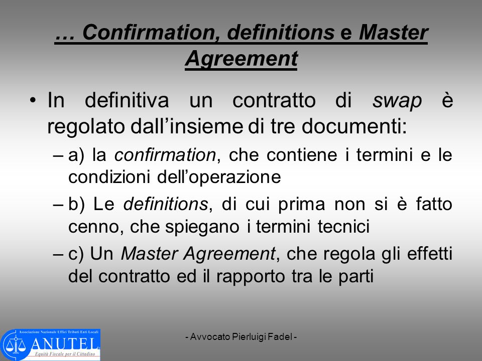 … Confirmation, definitions e Master Agreement