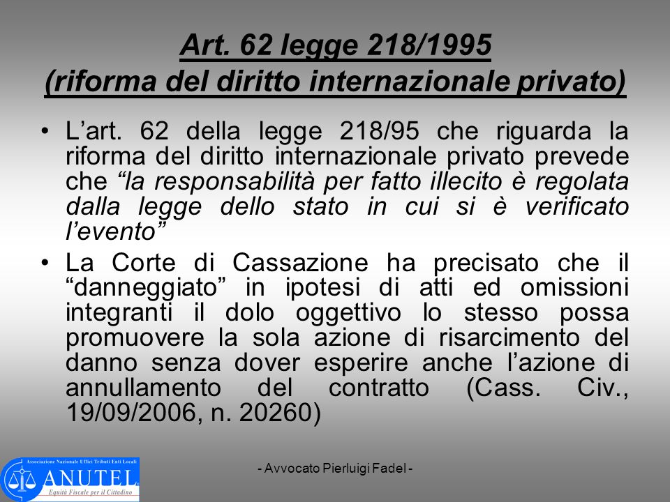 Art. 62 legge 218/1995 (riforma del diritto internazionale privato)