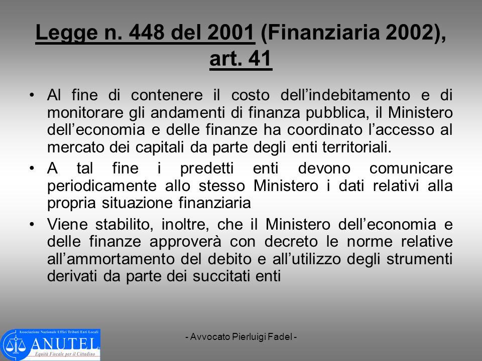 Legge n. 448 del 2001 (Finanziaria 2002), art. 41