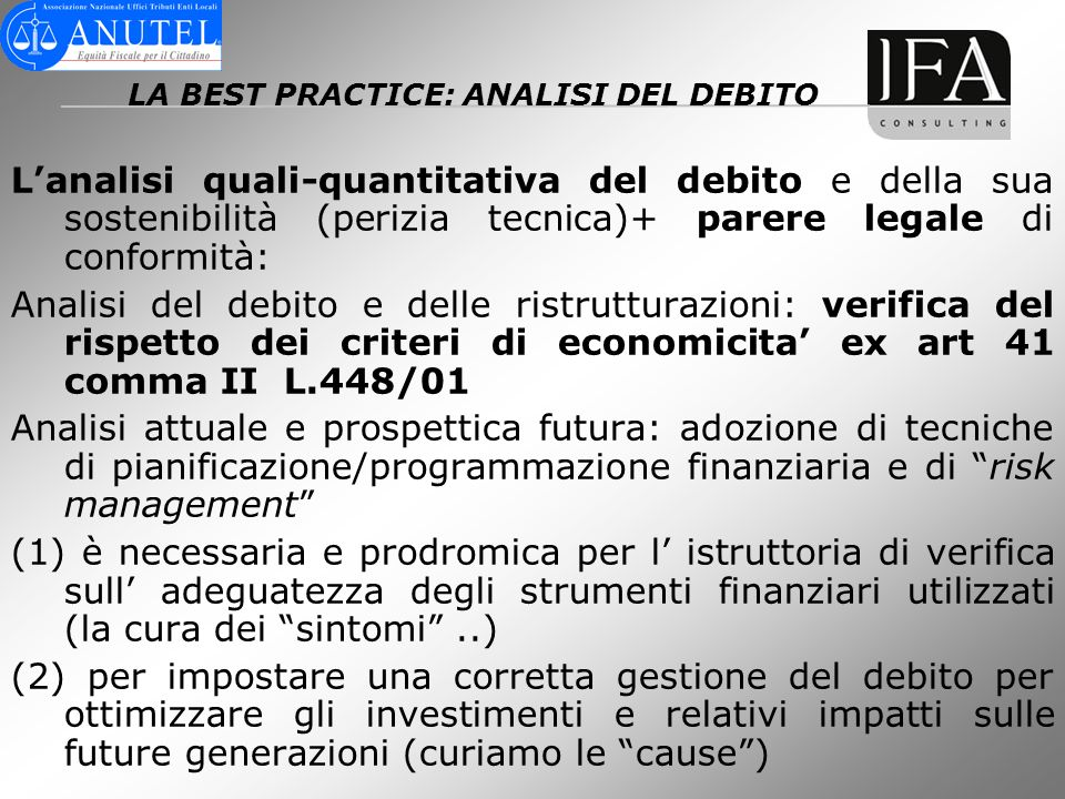 LA BEST PRACTICE: ANALISI DEL DEBITO