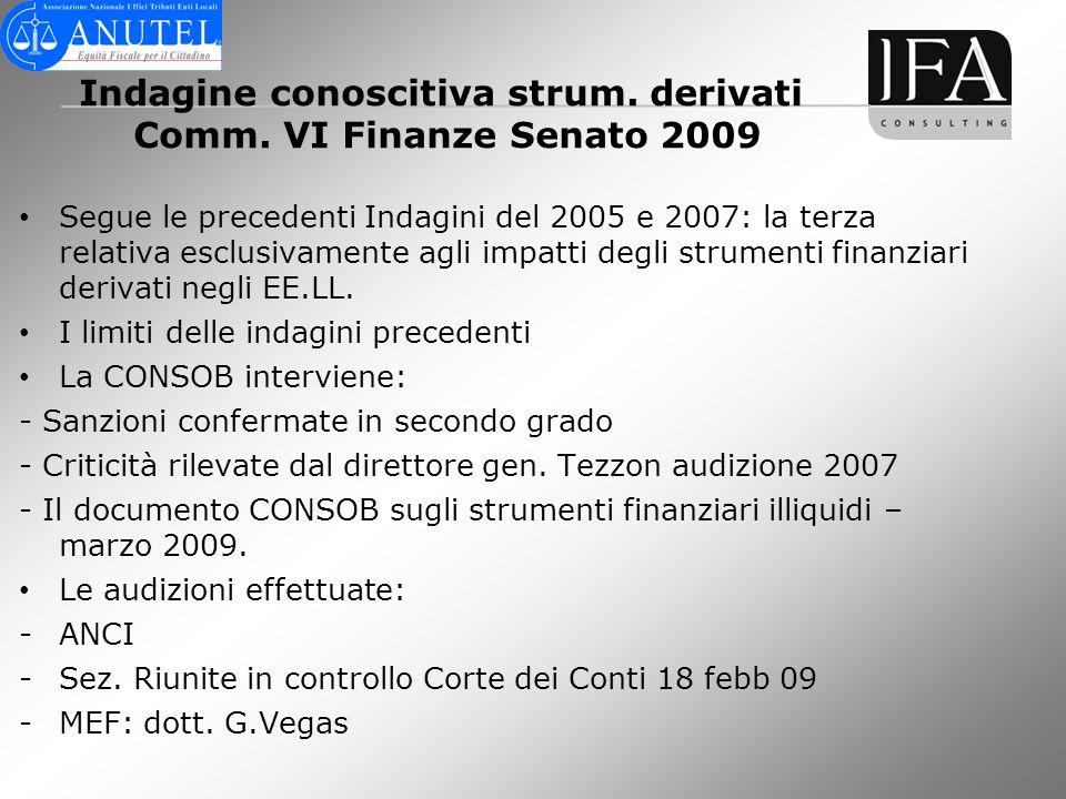 Indagine conoscitiva strum. derivati Comm. VI Finanze Senato 2009