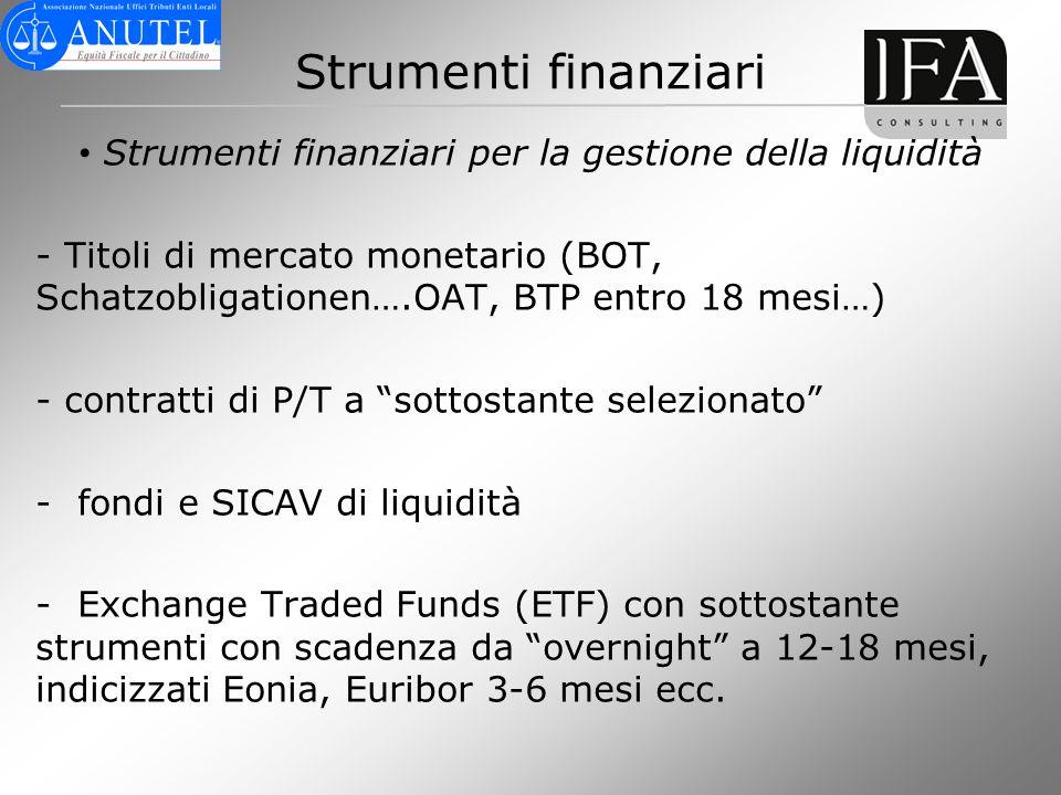 Strumenti finanziari per la gestione della liquidità