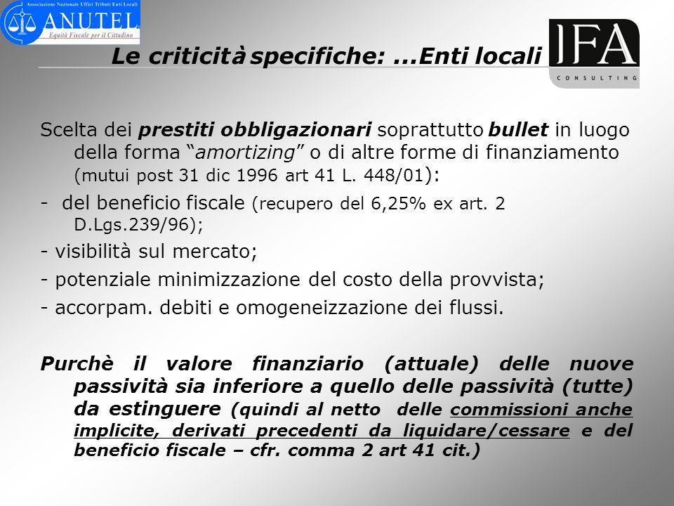 Le criticità specifiche: ...Enti locali
