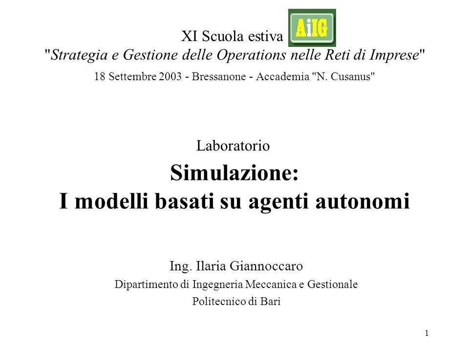Simulazione: I modelli basati su agenti autonomi