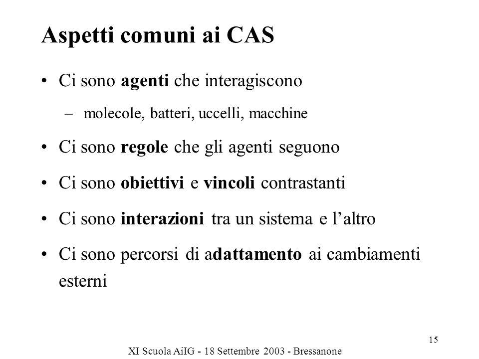 Aspetti comuni ai CAS Ci sono agenti che interagiscono