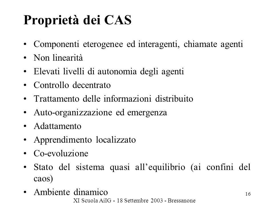 Proprietà dei CAS Componenti eterogenee ed interagenti, chiamate agenti. Non linearità. Elevati livelli di autonomia degli agenti.
