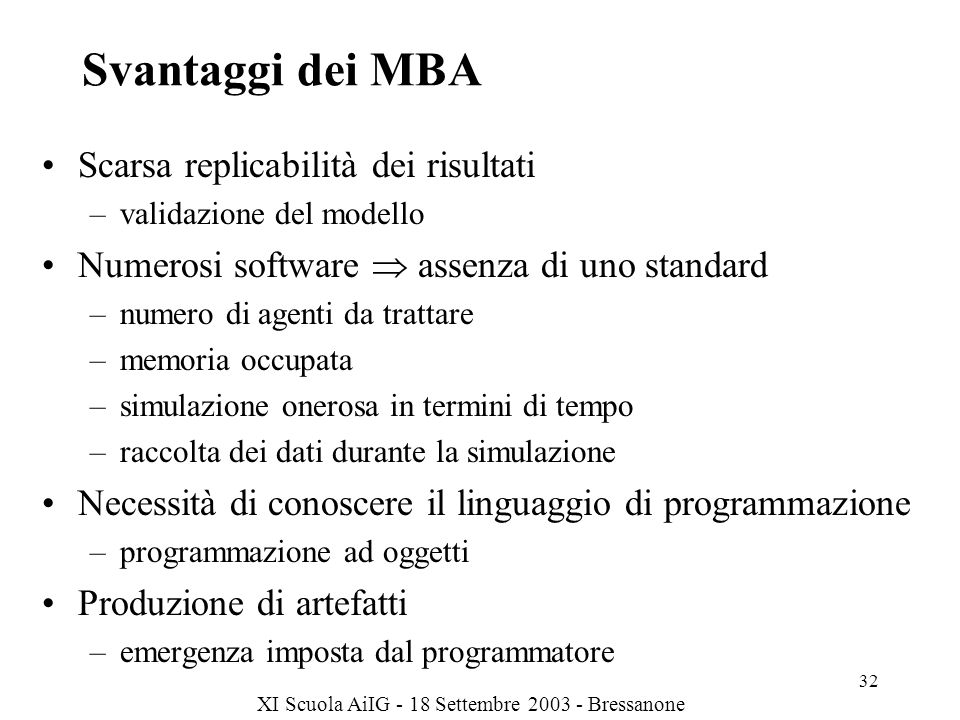 Svantaggi dei MBA Scarsa replicabilità dei risultati
