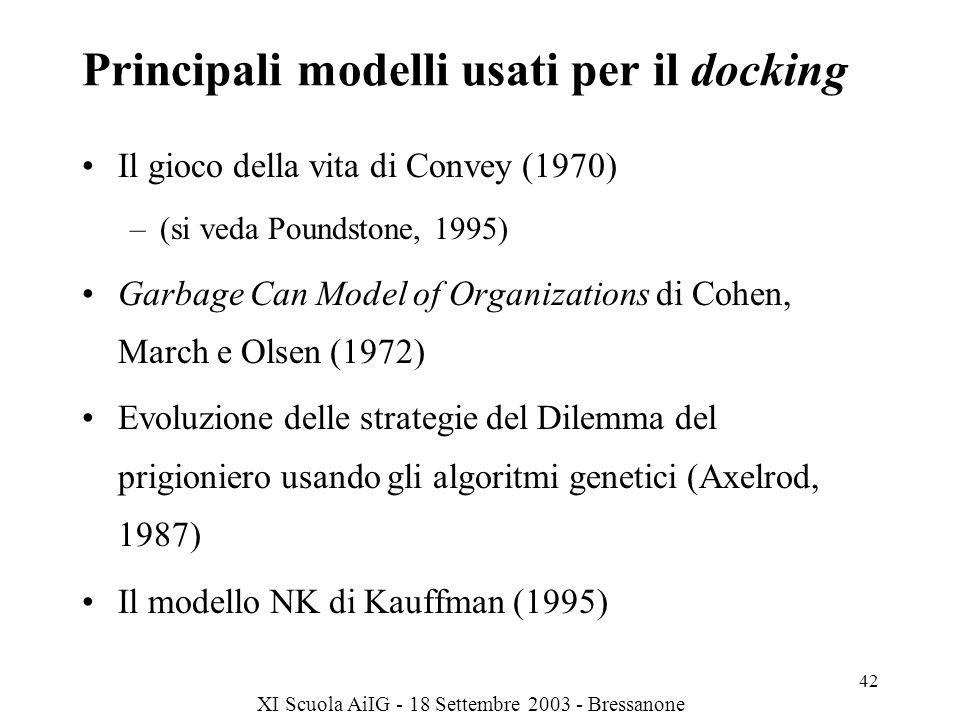 Principali modelli usati per il docking